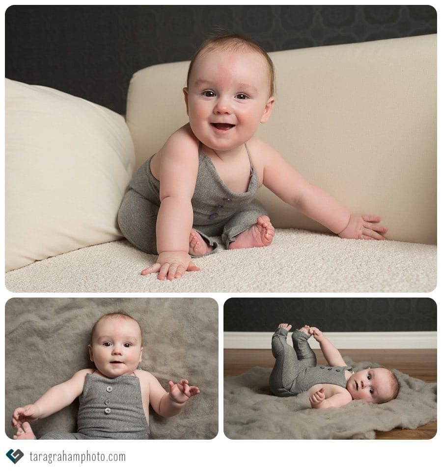 baby boy 6 month session grey romper