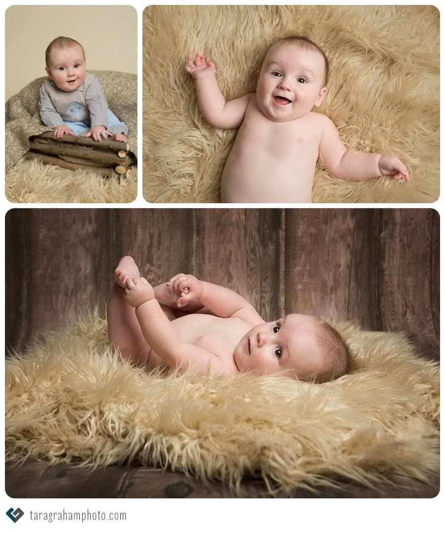 baby boy 6 month session fur rug