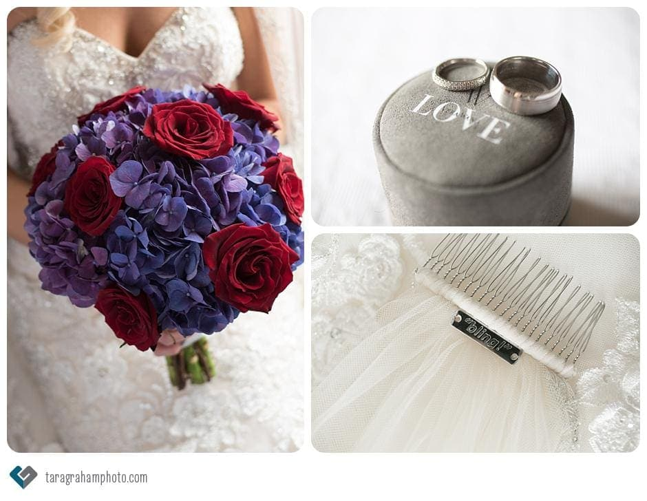 bridal details, red and purple bouquet, vera wang rings, bling veil, Ajax Convention Centre Wedding