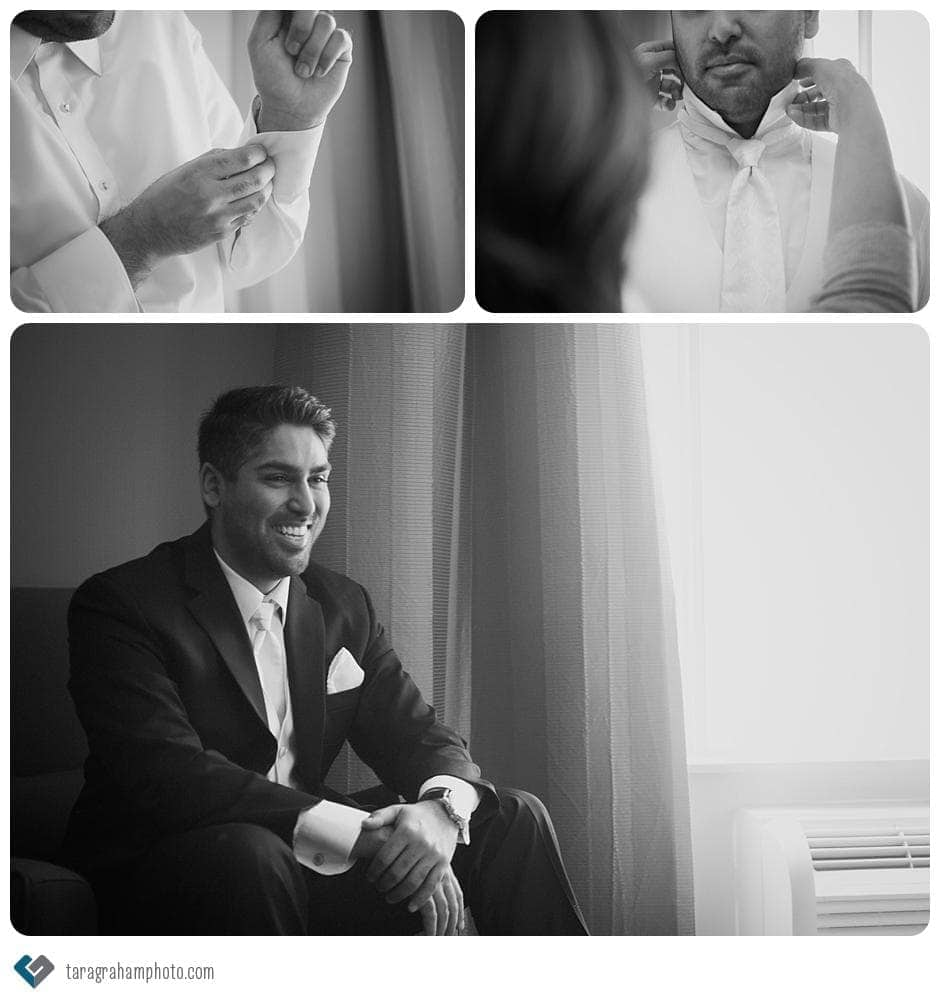 black and white groom details getting ready