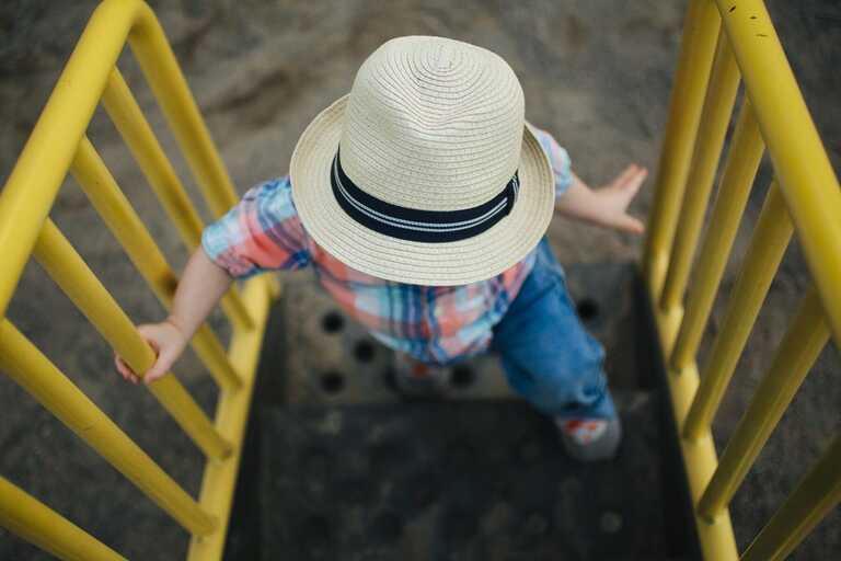 Boy on Steps, Birdseye view