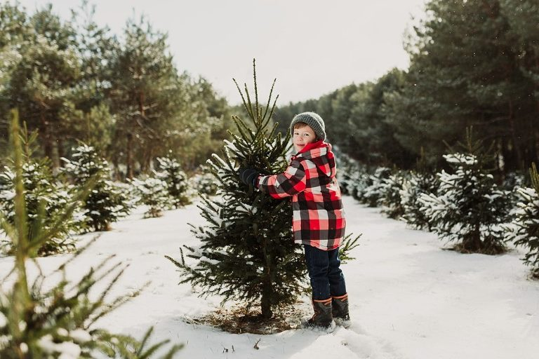 boy with christmas tree outdoors