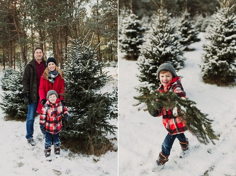 family with christmas tree at tree farm session