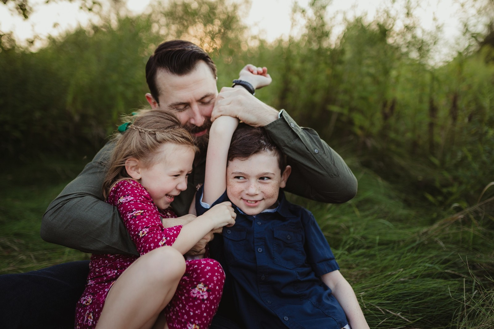 dad with kids bowmanville family session