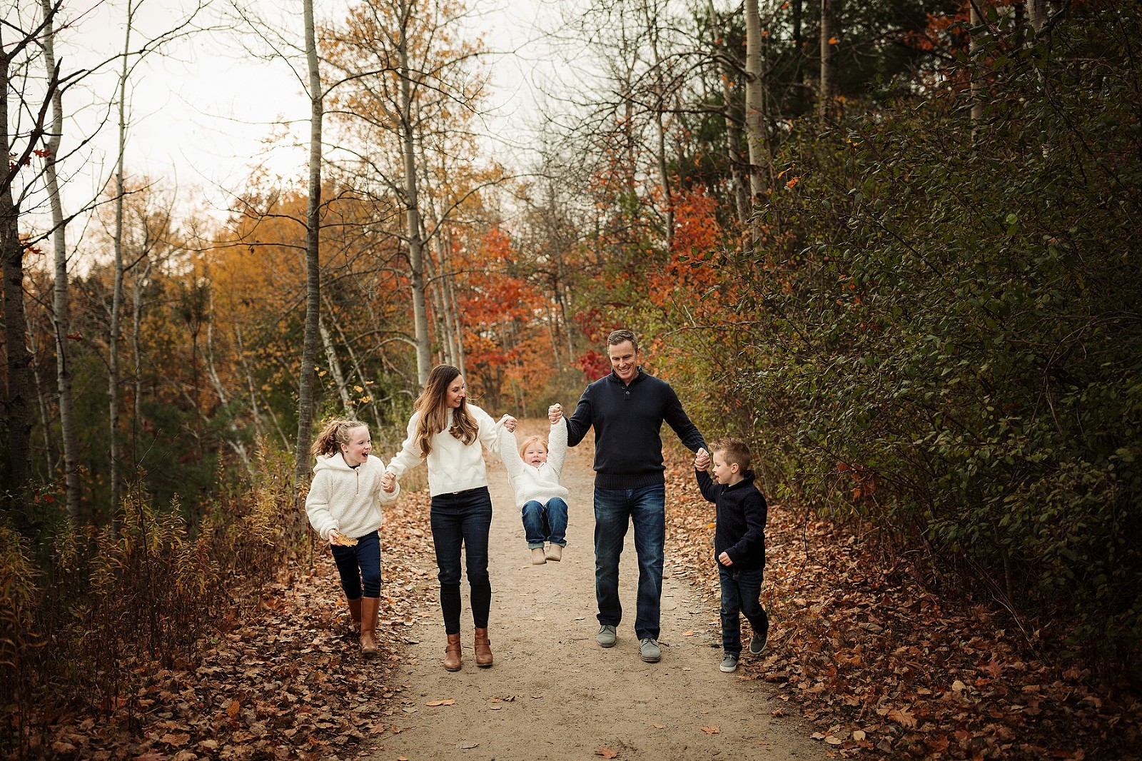 family of five walking fall family session